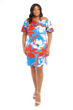 Large Floral Short Sundress - Plus - Red/Blue - Front