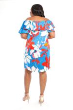 Large Floral Short Sundress - Plus - Red/Blue - Back