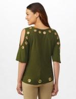 Grommet Cold Shoulder Knit Top - Military Green/ Gold - Back