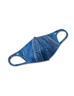 Printed Denim Anti-Bacterial Fashion Face Mask - Blue Multi - Front