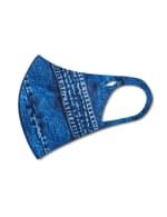 Printed Denim Anti-Bacterial Fashion Face Mask - Blue Multi - Detail