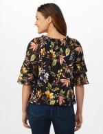 Novelty Sleeve Floral Peasant Knit Top - Black/Gold/Green - Back