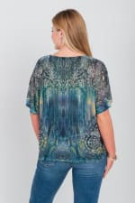 Green Mountain Mesh Tie Front Knit Top - Plus - Green - Back