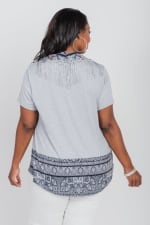 Yarrow Encounter Knit Tee & Matching Scarf - Plus - Grey - Back