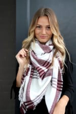 White & Red Blanket Scarf - White / Red - Back