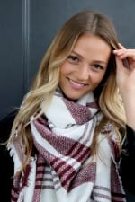 White & Red Blanket Scarf - White / Red - Front