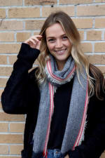 Feminine and Minimal Long Neck Scarf - Navy - Front