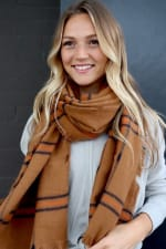 Rust Neck Scarf with Orange and Black Accents - Orange - Back