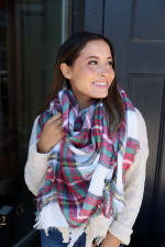 Vibrant Blanket Scarf - White / Red - Front