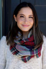 Timeless, Classic Plaid Blend Infinity Scarf - Red - Front