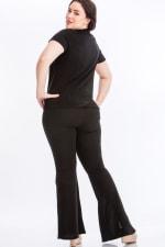 Tie Top And Split Bell Pant Lounge Set - Black - Back