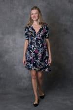Ultra-Femme Maternity V-Neck Dress - Navy Floral - Front