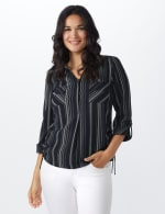 Roz & Ali Stripe Side Tie Blouse - Misses - Navy/offwhite - Front