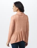 Flounce Hem Cowl Knit Top - Brick - Back