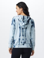 """Wine Me Over"" Tie Dye Knit Hoodie - Blue - Back"