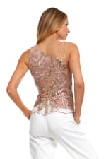 Embroidered Floral Strappy Top - Multi - Back