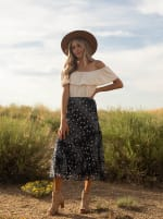 Bias Cut 4 Tier Elastic Waistband Skirt - Navy/Ivory - Front