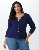 Roz & Ali Pointelle Button-Up Cardigan - Plus - Navy - Front
