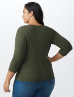 Roz & Ali Pointelle Button-Up Cardigan - Plus - Olive - Back