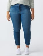 Westport Signature 5 Pocket Skinny Ankle Jean With Snap Button At Ankle - Plus - Medium Wash - Front