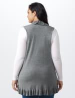 Roz & Ali Ruffle Sweater Vest - Plus - Oatmeal - Back