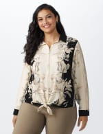Roz & Ali Placement Print Blouse - Plus - Taupe/Black - Front