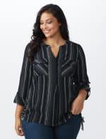 Roz & Ali Stripe Side Tie Blouse - Plus - Navy/Off white - Front