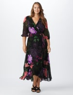 Large Floral Ruffle Dress - Plus - Black/Lilac - Front
