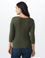 Roz & Ali Pointelle Button-Up Cardigan - Misses - Olive - Back