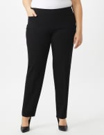 Roz & Ali Plus Secret Agent Pull On Pants With Pockets- Tall - Black - Front