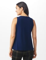 Roz & Ali Crochet Trim Crepe Hi/Lo Knit Top - Shipshape Navy - Back