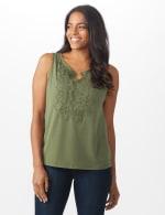 Roz & Ali Crochet Trim Crepe Hi/Lo Knit Top - Olive - Front