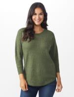 Westport Zig Zag Stitch Curved Hem Sweater - Misses - Dried Sage - Front