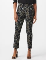 Roz & Ali Printed Superstretch Pull On Ankle Pants With Slits - Black/Grey - Front