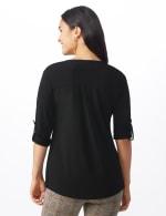 Roz & Ali Zip Front Knit Top - Misses - Black - Back
