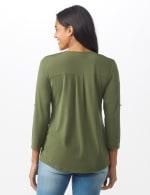 Roz & Ali Zip Front Knit Top - Misses - Olive - Back