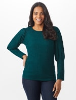 Puff Sleeve Hacci Rib Knit Top - Hunter - Front