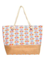 Flamingo Tote Beach Bag - Light Beige - Front