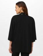 Roz & Ali Kimono Sleeve Grommet Cardigan - Black - Back