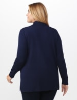 Roz & Ali Scallop Trim Cardigan - Plus - Shipshape Navy - Back