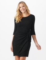 Glitter Knit  Wrap Dress - Misses - Black - Front