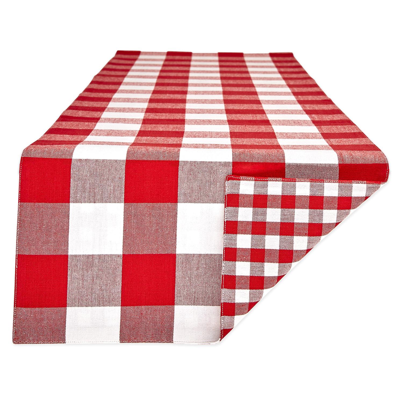 Red White Reversible Gingham Buffalo Check Table Runner 14x108 Stein Mart