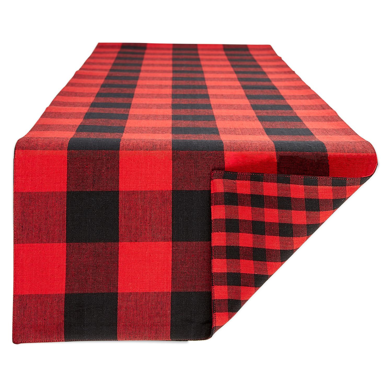 Red Black Reversible Gingham Buffalo Check Table Runner 14x108 Stein Mart