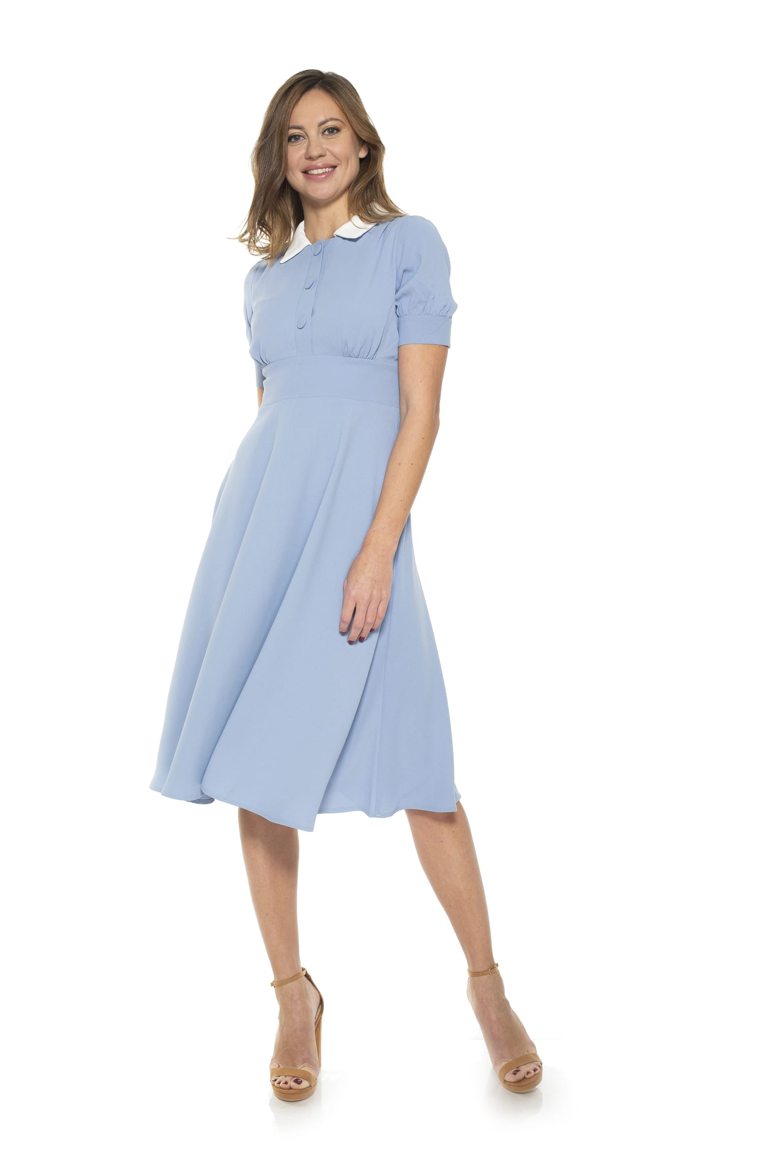 1930s Day Dresses, Afternoon Dresses History Emery Cap Sleeve Collared Fit and Flare Dress $106.95 AT vintagedancer.com