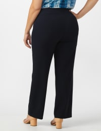 Roz & Ali Plus Secret Agent Tummy Control Pull On Pants - Average Length-Plus - navy - Back