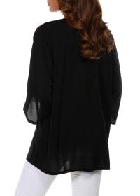 3/4 Sleeve Grommet Trimmed Cardigan - Misses - Black/Gold - Back