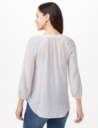 Crochet Texture Hi-Lo Hem Top - White - Back