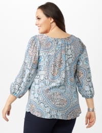 Crochet Trim Square Neck Floral Top - Blue - Back