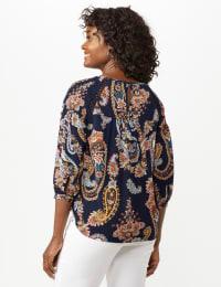 Crochet Trim Smock Paisley Texture Top - Navy/Peach - Back