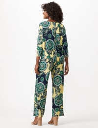 Paisley Tie Front Knit Top - Nautical Yellow/Green - Back